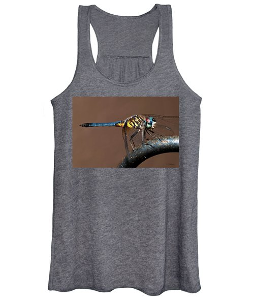 Blue And Gold Dragonfly Women's Tank Top