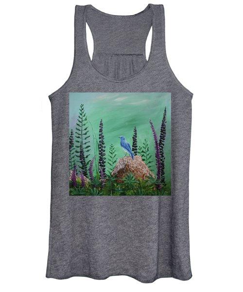 Blue Chickadee Standing On A Rock 2 Women's Tank Top