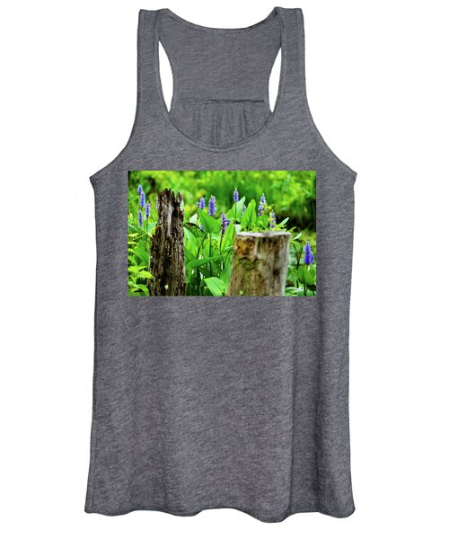Blue Flowers And Artistic Logs Women's Tank Top