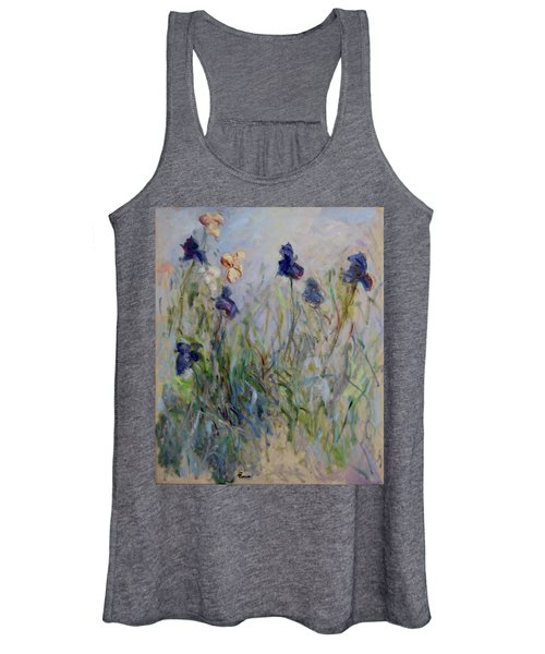 Blue Irises In The Field, Painted In The Open Air  Women's Tank Top