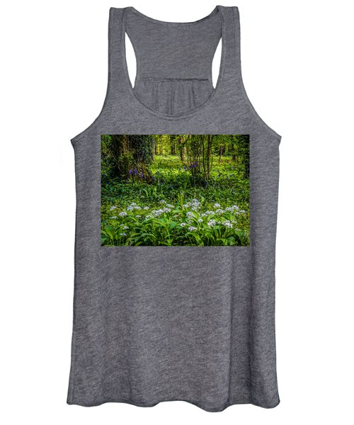 Women's Tank Top featuring the photograph Bluebells And Wild Garlic At Coole Park by James Truett