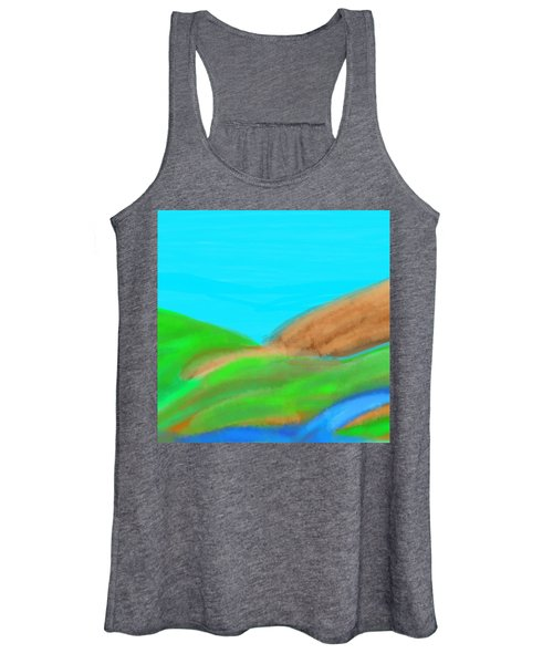 Blues And Browns On Greens Women's Tank Top