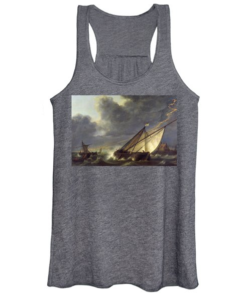 Boats In The Estuary Of Holland Diep In A Storm Women's Tank Top
