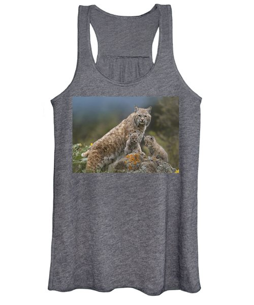 Bobcat Mother And Kittens North America Women's Tank Top