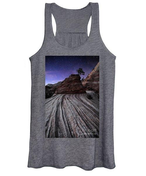 Bonzai In The Night Utah Adventure Landscape Photography By Kaylyn Franks Women's Tank Top
