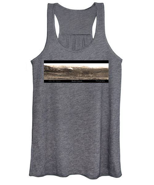 Boulder Colorado Sepia Panorama Poster Print Women's Tank Top