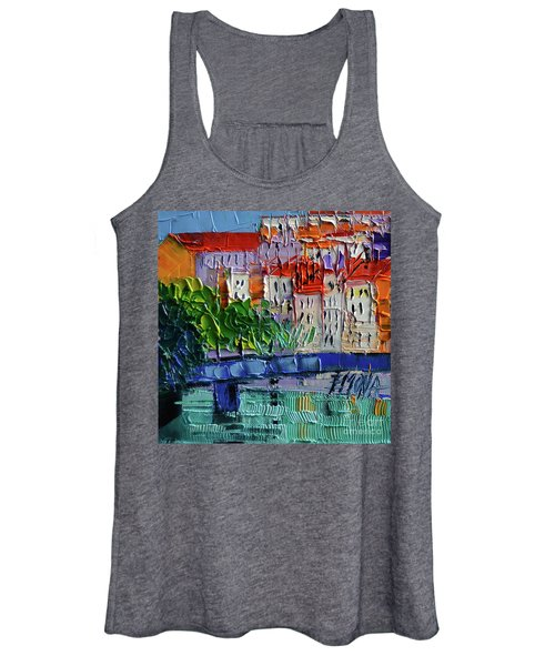Bridge On The Saone River - Lyon France - Palette Knife Oil Painting By Mona Edulesco Women's Tank Top