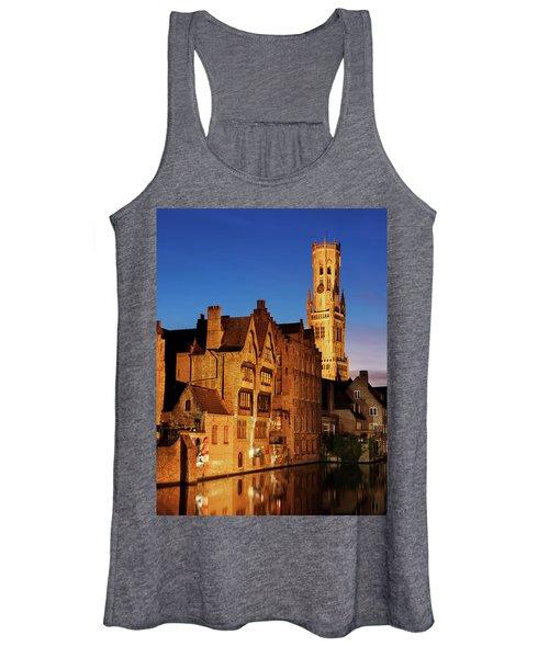Bruges Belfry At Night Women's Tank Top