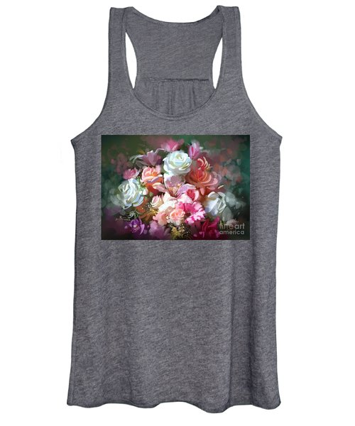Women's Tank Top featuring the painting Bunch Of Roses by Tithi Luadthong