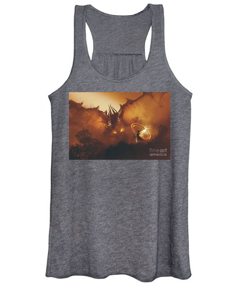 Women's Tank Top featuring the painting Calling Of The Dragon by Tithi Luadthong