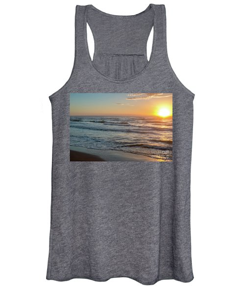 Calm Water Over Wet Sand During Sunrise Women's Tank Top