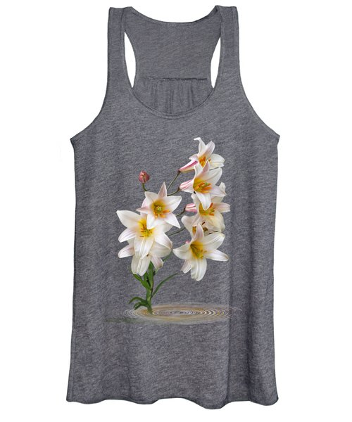Cascade Of Lilies On Black Women's Tank Top