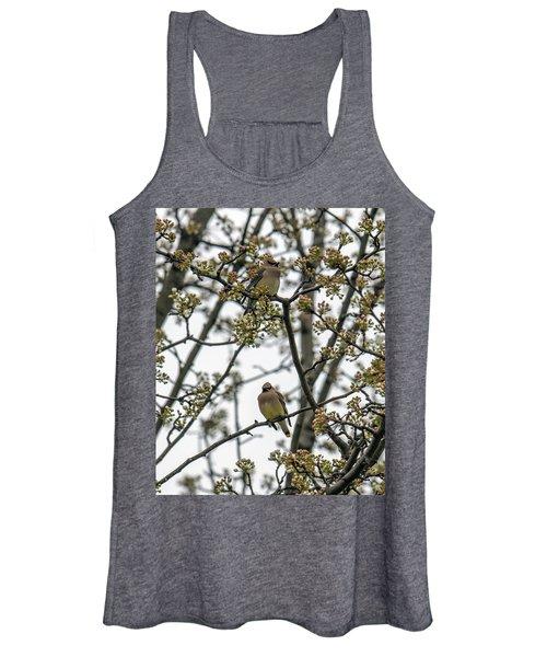Cedar Waxwings In A Blossoming Tree Women's Tank Top