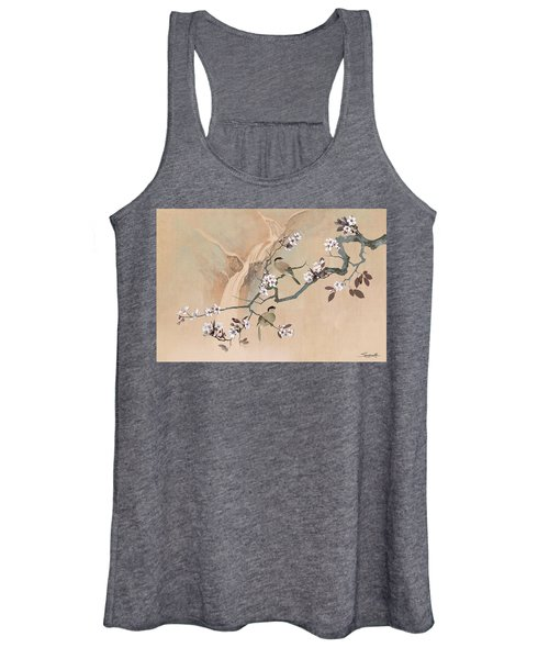 Cherry Blossom Tree And Two Birds Women's Tank Top