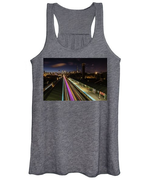 Chicago Skyline And Train Lights Women's Tank Top