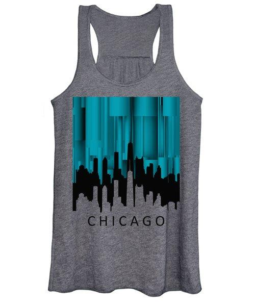 Chicago Turqoise Vertical Women's Tank Top