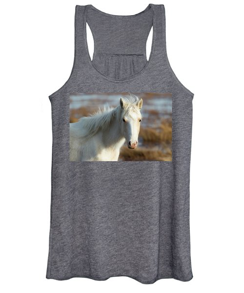 Women's Tank Top featuring the photograph Chincoteague White Pony by Pete Federico