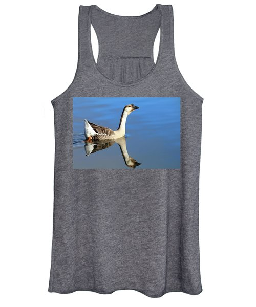 Chinese Goose In Blue Waters Women's Tank Top
