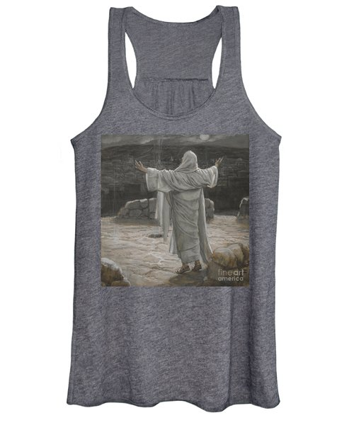 Christ Retreats To The Mountain At Night Women's Tank Top