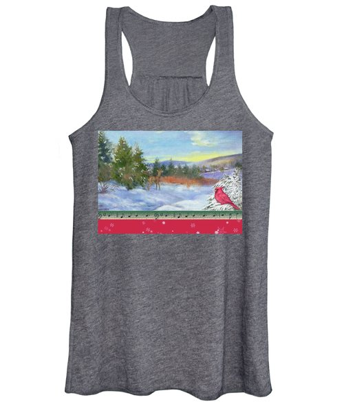 Classic Winterscape With Cardinal And Reindeer Women's Tank Top