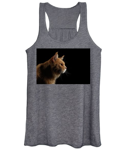 Close-up Portrait Ginger Maine Coon Cat Isolated On Black Background Women's Tank Top