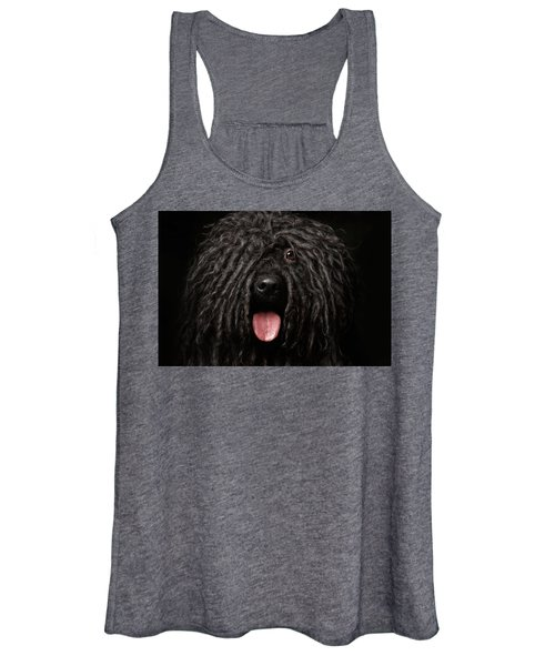 Close Up Portrait Of Puli Dog Isolated On Black Women's Tank Top