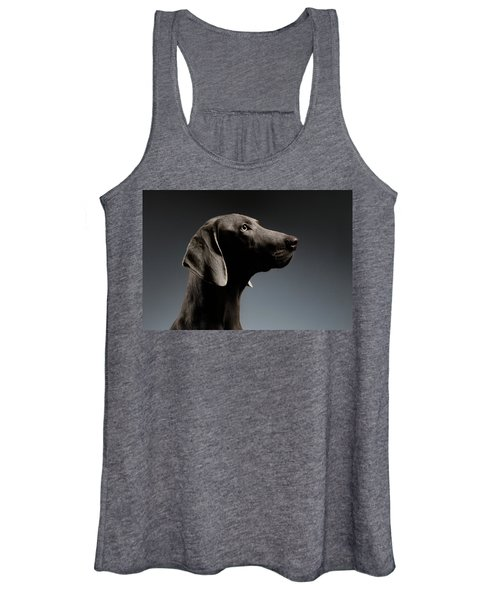 Close-up Portrait Weimaraner Dog In Profile View On White Gradient Women's Tank Top