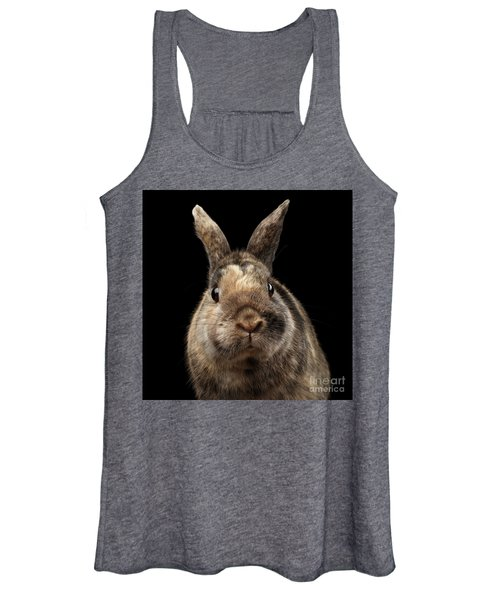 Closeup Funny Little Rabbit, Brown Fur, Isolated On Black Backgr Women's Tank Top