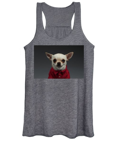Closeup Portrait Chihuahua Dog In Stylish Clothes. Gray Background Women's Tank Top