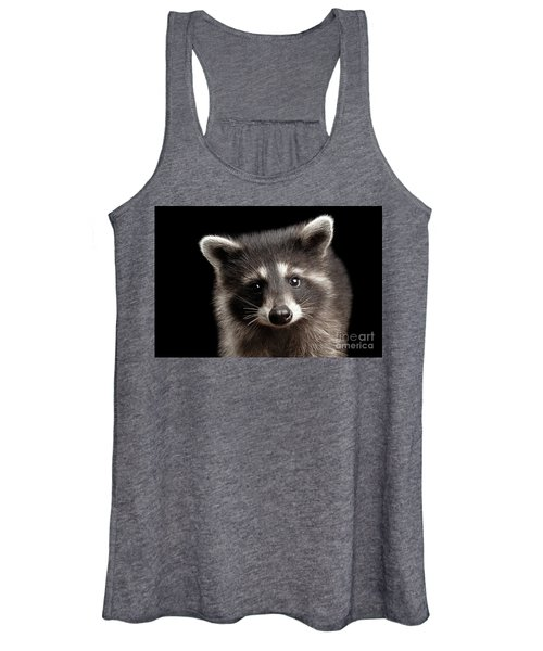 Closeup Portrait Cute Baby Raccoon Isolated On Black Background Women's Tank Top