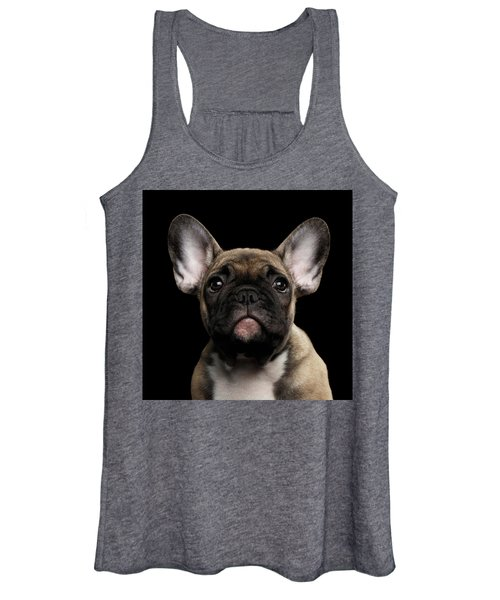 Closeup Portrait French Bulldog Puppy, Cute Looking In Camera Women's Tank Top