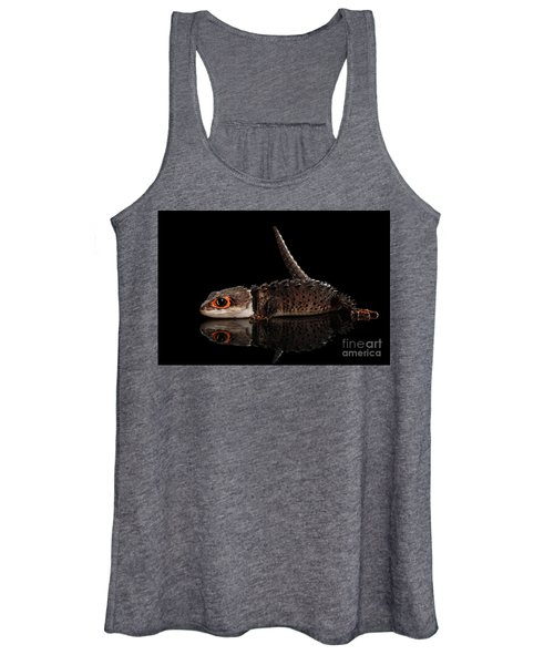 Closeup Red-eyed Crocodile Skink, Tribolonotus Gracilis, Isolated On Black Background Women's Tank Top