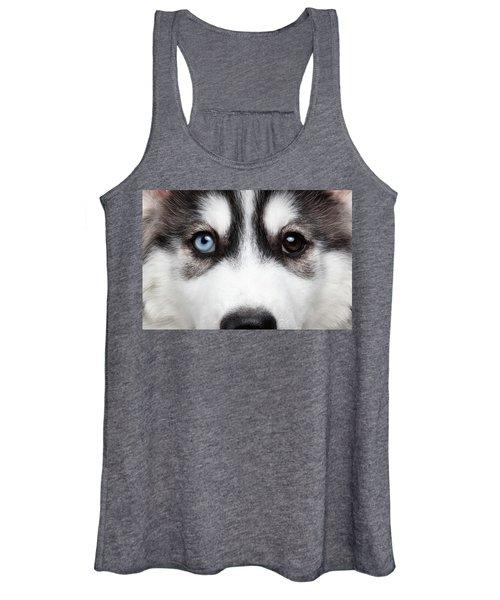 Closeup Siberian Husky Puppy Different Eyes Women's Tank Top