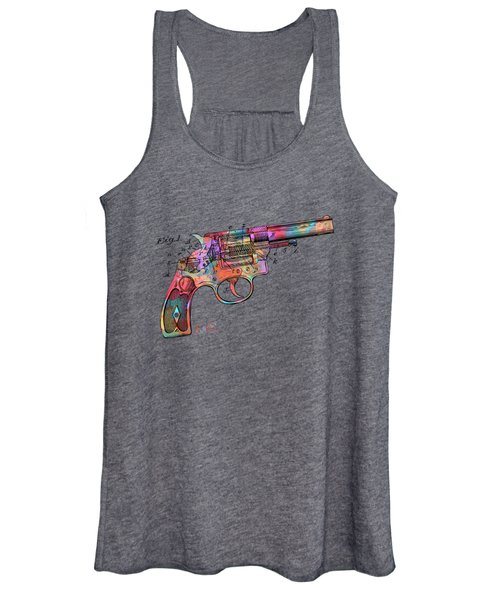 Colorful 1896 Wesson Revolver Patent Women's Tank Top