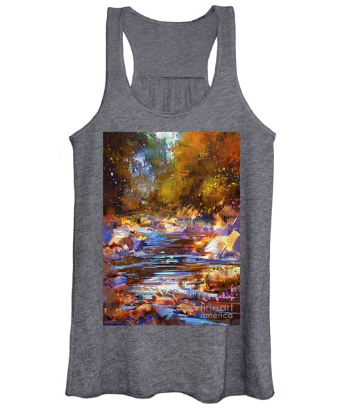 Women's Tank Top featuring the painting Colorful River by Tithi Luadthong