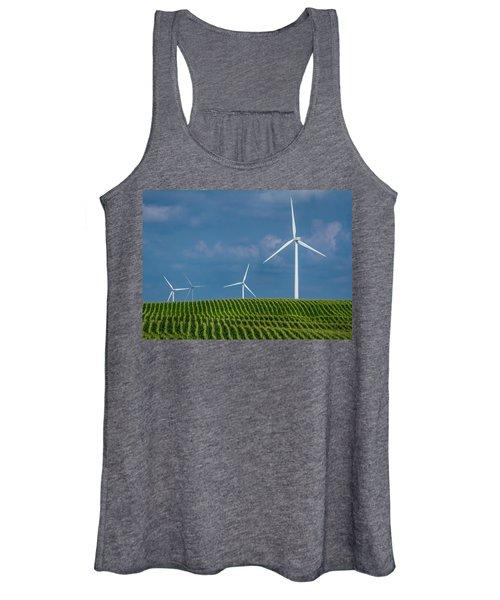 Corn Rows And Windmills Women's Tank Top