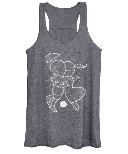 Cosmo And Celeste Colorful Cosmological Night Sky Couple In Love Ice Blue  Women's Tank Top