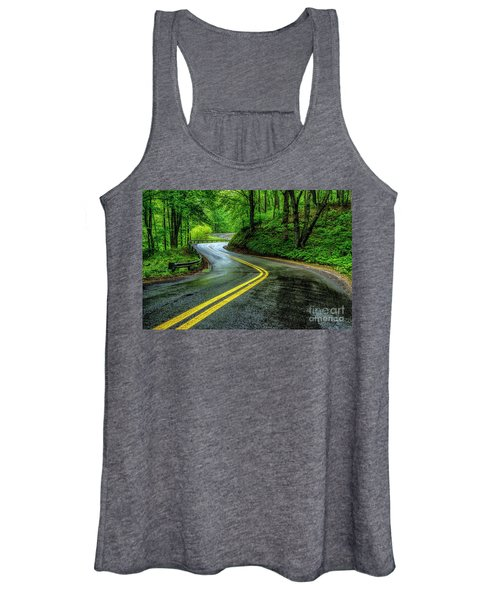 Country Road In Spring Rain Women's Tank Top