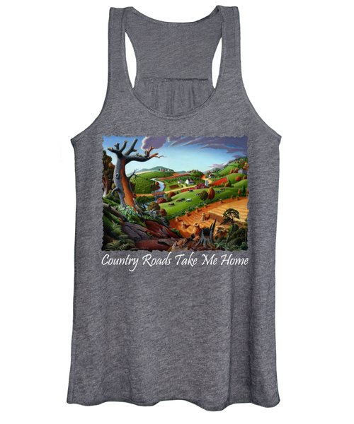 Country Roads Take Me Home T Shirt - Autumn Wheat Harvest 2 Country Farm Landscape Women's Tank Top