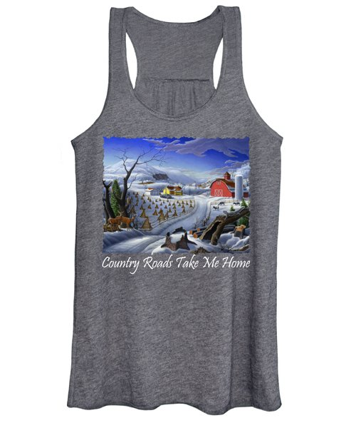 Country Roads Take Me Home T Shirt - Coon Gap Holler - Rural Winter Country Farm Landscape Women's Tank Top