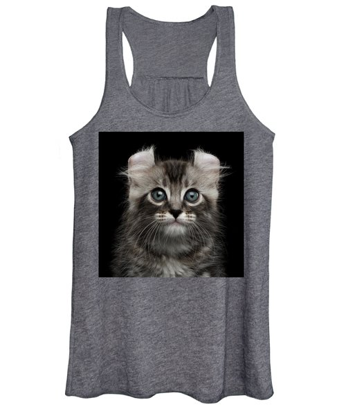 Cute American Curl Kitten With Twisted Ears Isolated Black Background Women's Tank Top