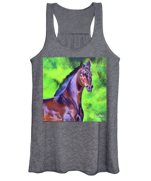 Dark Red Bay Horse Women's Tank Top