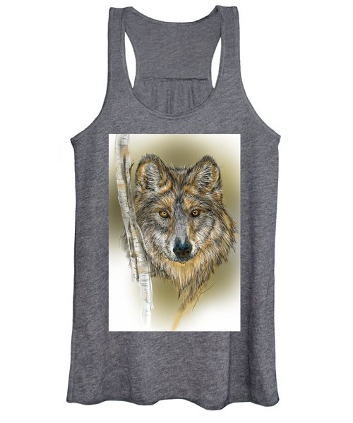 Dark Wolf With Birch Women's Tank Top