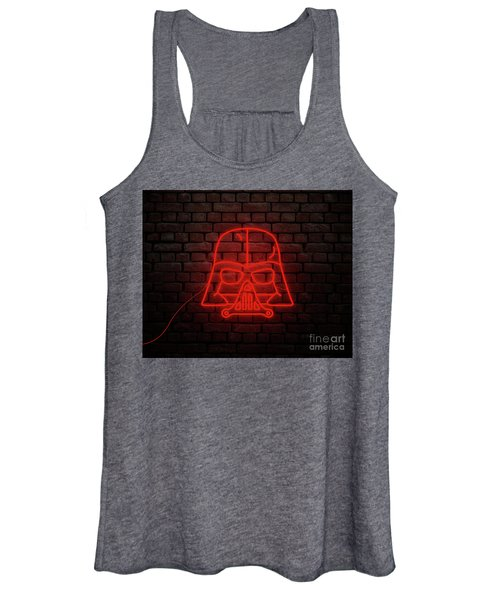 Darth Vader Neon Style In Red Light Women's Tank Top