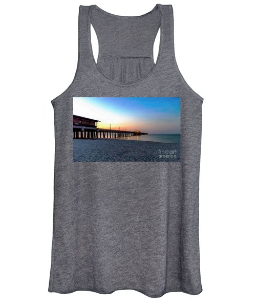 Dawn At Gulf Shores Pier Al Seascape 1283a Digital Painting Women's Tank Top