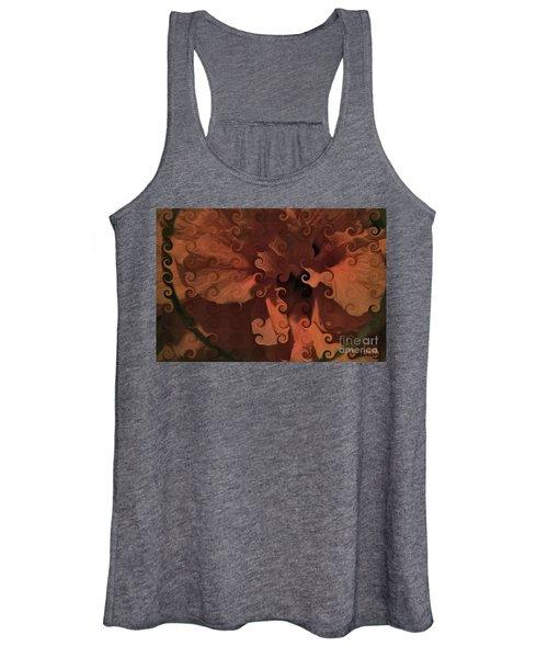 Deep Wine Curlicue Hibiscus Women's Tank Top
