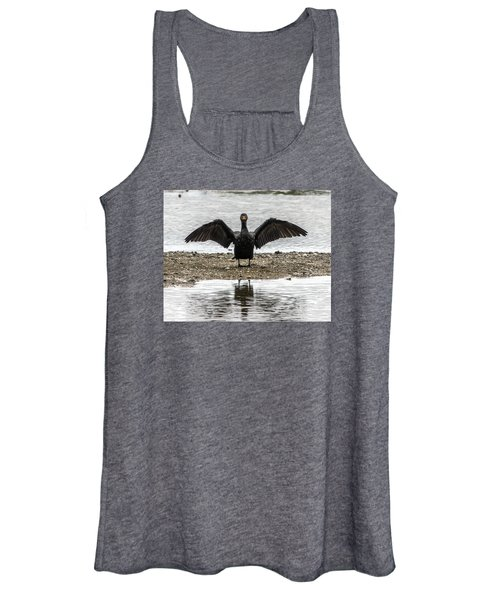Double Crested Cormorant Portrait Flapping Wings Women's Tank Top