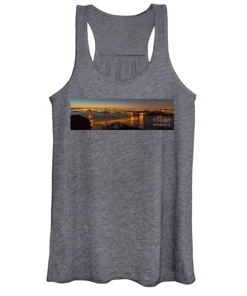 Downtown San Francisco And Golden Gate Bridge Just Before Sunris Women's Tank Top