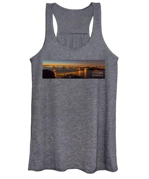 Downtown San Francisco And Golden Gate Bridge Just Before Sunris Women's Tank Top