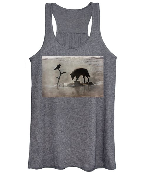 Druid Wolf And Raven Silhouette Women's Tank Top